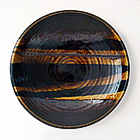 Amber & Black Stoneware Charger