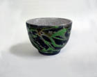 Naked Raku Green and Black Teabowl
